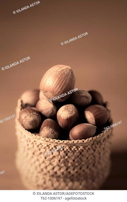 Small macramé basket full of hazelnuts  Handicraft
