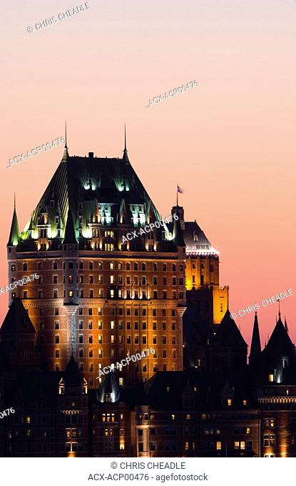 Chateau Frontenac Hotel from across St  Lawrence River at evening twilight, Quebec, Canada
