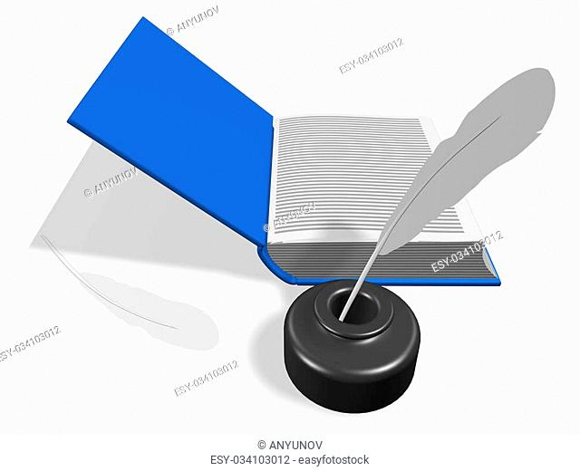 Layout of an open book. With Inkwell and pen. 3d render. Isolated on white