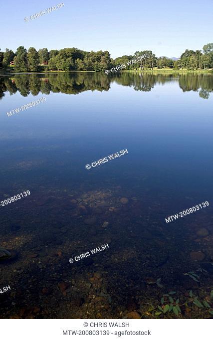 Lake trees landscape Scotland tranquil picturesque