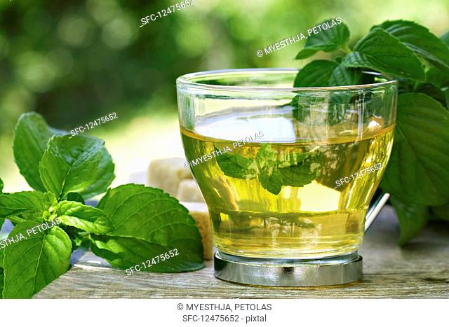 Peppermint tea in a glass cup on a table outside