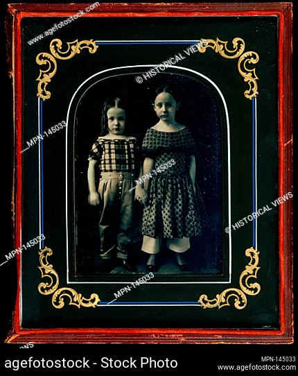 [Boy and Girl Holding Hands]. Artist: Bennet (American, active 1840s); Date: ca. 1850; Medium: Daguerreotype; Dimensions: Image: 12 x 8