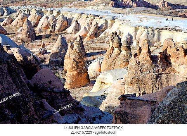 Fairy chimneys in Pasabagi, the Monks Valley. Turkey, Central Anatolia, Nevsehir Province, Cappadocia, Goreme national park