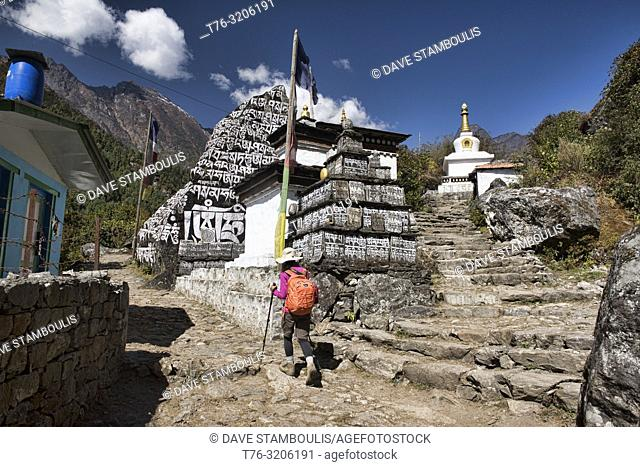 mani stone walls along the trail in the Everest Region of Nepal
