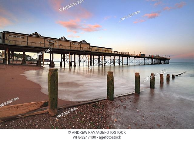 The Grand Pier at Teignmouth on the south coast of Devon captured at sunset