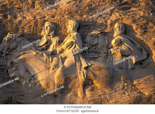 Stone Mountain, carving, Georgia's Stone Mountain Park, Atlanta, Georgia, The Confederate Memorial Carving of President Jefferson Davis