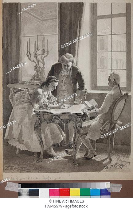 Teaching hour of Empress Catherine II by Klodt (Clodt), Mikhail Petrovich, Baron (1835-1914)/Ink on paper/Realism/1894/Russia/State Central Literary Museum