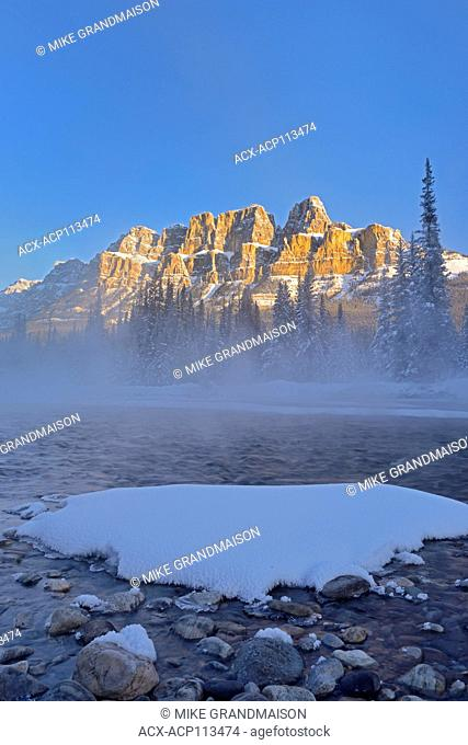 Castle Mountain and the Bow River at sunrise. Castle Junction, Banff National Park, Alberta, Canada