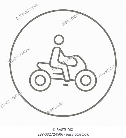 Man riding a motorcycle line icon for web, mobile and infographics. Vector grey thin line icon in the circle isolated on white background
