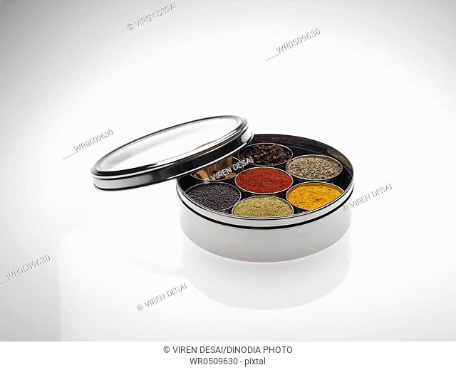 Different types of spices in bowls in stainless steel box on white background