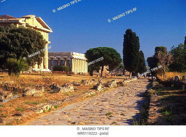 Italy, Campania, Paestum, the temples of Athena and Neptune