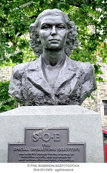 London, England, UK. Bust of Violette Szabo on the Special Operations Executive Memorial (2009: Karen Newman) on the Albert Embankment
