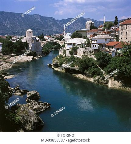 Bosnia and Hercegovina, Mostar, city-opinion, river Neretva, bridge Stari cider, Balkan peninsula, city, cityscape, houses, residences, bridge, Turk-bridge