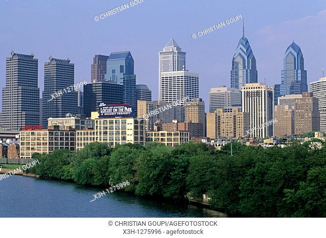 the Schuylkill river, west side of the center city of Philadelphia, Pennsylvania, United States