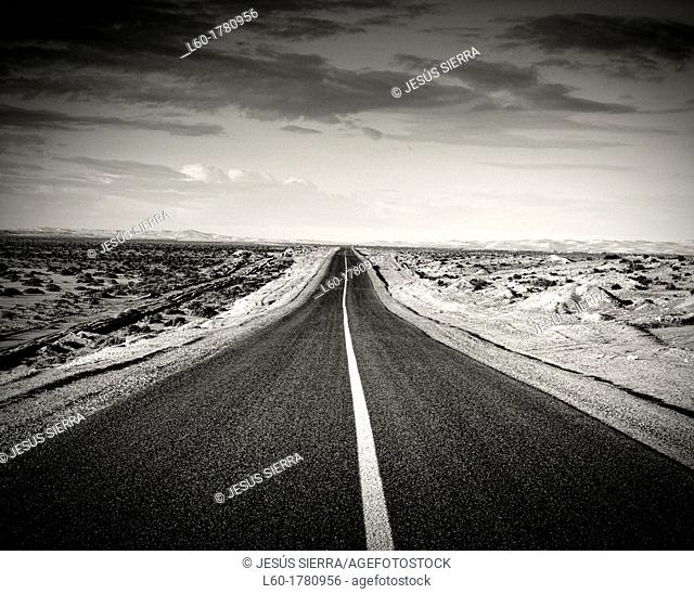 Road in the Sahara, Sahara Occidental, Morocco
