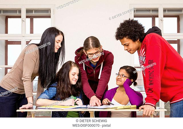 Austria, Group of students learning together