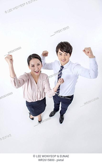 Cheerful business people