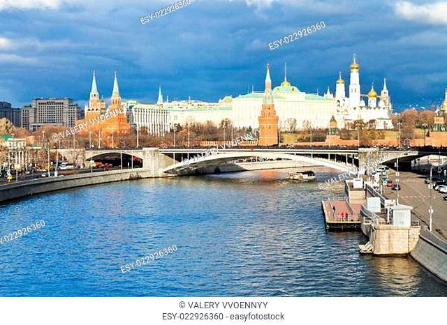 illuminated Moscow Kremlin and Moskva River