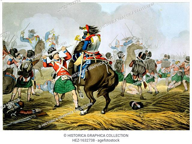 Battle of Waterloo, 1815 (1817). 'French Cuirassiers at the Battle of Waterloo, Charged and Defeated by the Highlanders and the Scots Greys'