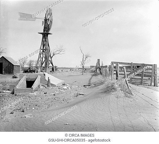 Drifting Soil in Farmyard, Hartley County, Texas, USA, Arthur Rothstein, Farm Security Administration, April 1936