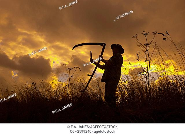 Farmworker with scythe Norfolk UK
