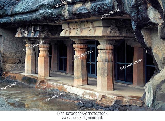 Cave 7 : Façade showing four decorative pillars in the front. Ajanta Caves, Aurangabad, Maharashtra, India