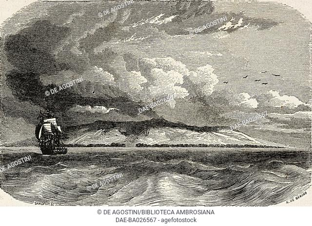 San Cristobal (Chatham) island in the Galapagos archipelago, drawing by Evremond de Berard (1824-1881) from a sketch by F Philip Parker King