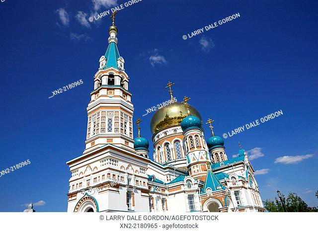 The Omsk Dormition Cathedral (Uspensky Cathedral, Assumption Cathedral) in Omsk, Omsk Oblast, Siberia, Russia