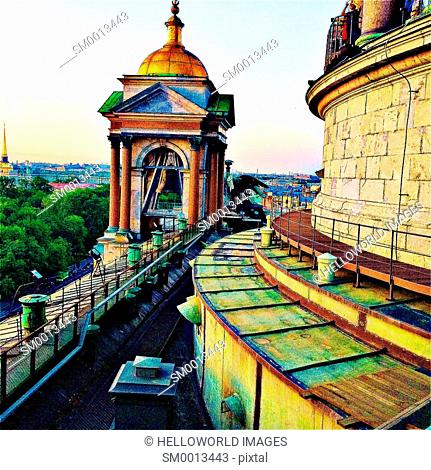 View when descending from the dome of St Isaac's Cathedral, St Petersburg, Russia