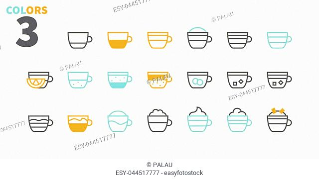Coffee Types Food UI Pixel Perfect Well-crafted Vector Thin Line Icons 48x48 Ready for 24x24 Grid for Web Graphics and Apps with Editable Stroke