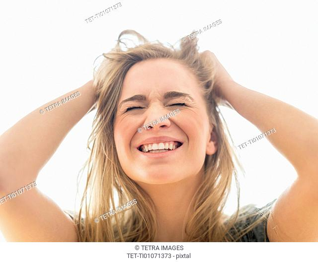 Frustrated woman pulling hair