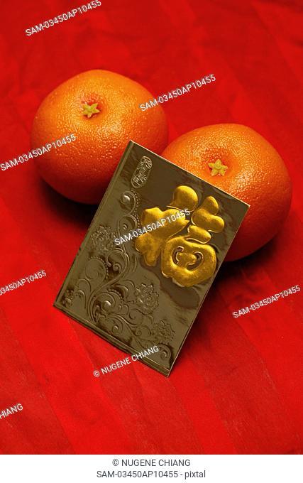Red envelope, Hong Bao, oranges