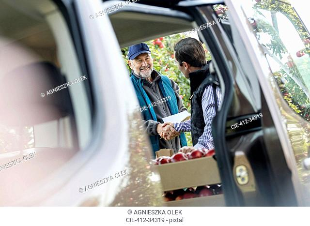 Male farmer and customer handshaking at truck in apple orchard