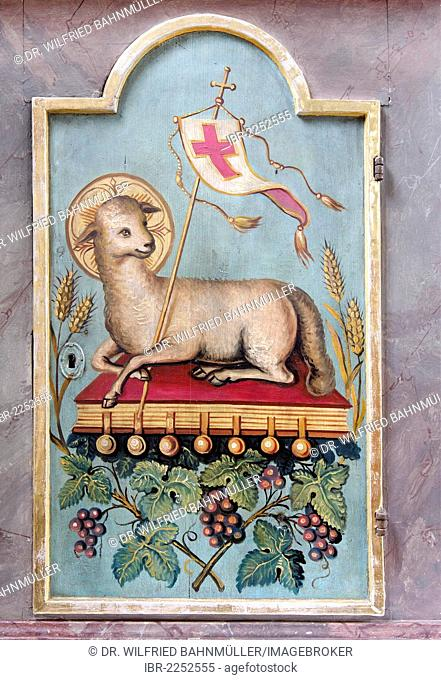 Apocalyptic Lamb lying on the book with the seven seals, Book of Revelation, portable tabernacle, parish church of Saint Martin, Reischach, Upper Bavaria