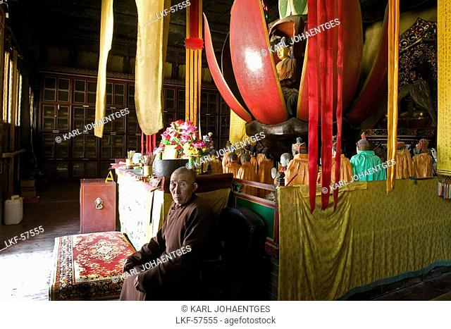 Buddha appears in a lotus blossom, Buddha in a mechanically opening wooden lotus flower, Luohou Temple, Mount Wutai, Wutai Shan, Five Terrace Mountain