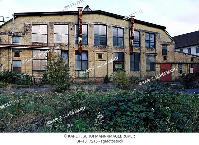 Building of the forge, vacant, former Ausbesserungswerk repair shop of German Railways, vacant, closed in 2003, Duisburg-Wedau, North Rhine-Westphalia, Germany