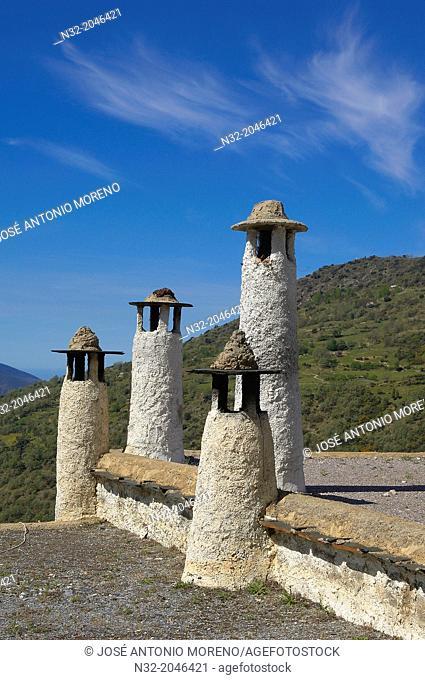 Typicals chimneys, Bubion, Alpujarras, Granada province, Andalusia, Spain