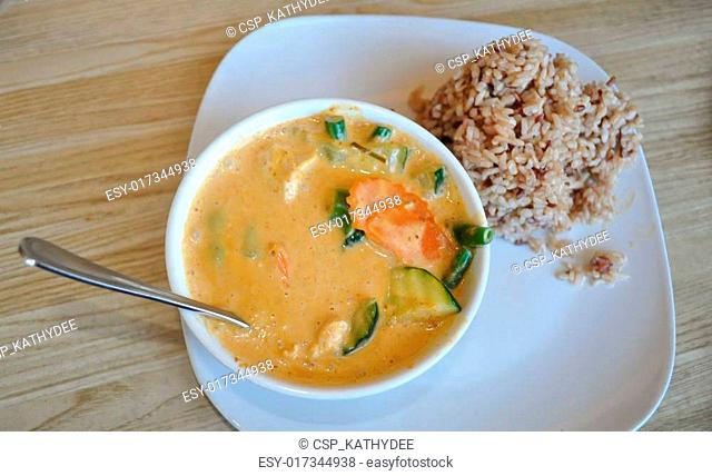 Thai Panang curry and rice