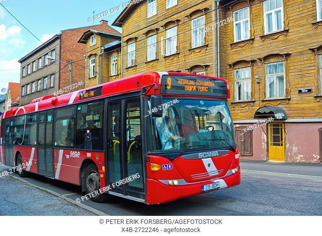 Bus 9, Tähe street, Karlova, district of wooden houses,Tarto, Estonia, Baltic States, Europe