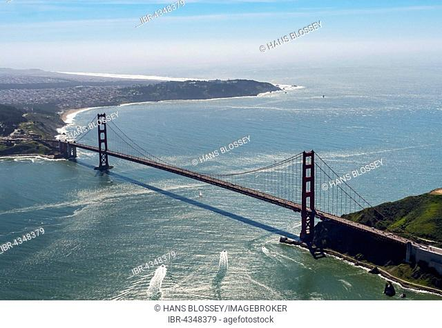 Aerial view, Golden Gate Bridge with blue sky, seen from the Bay Area, San Francisco, California, USA