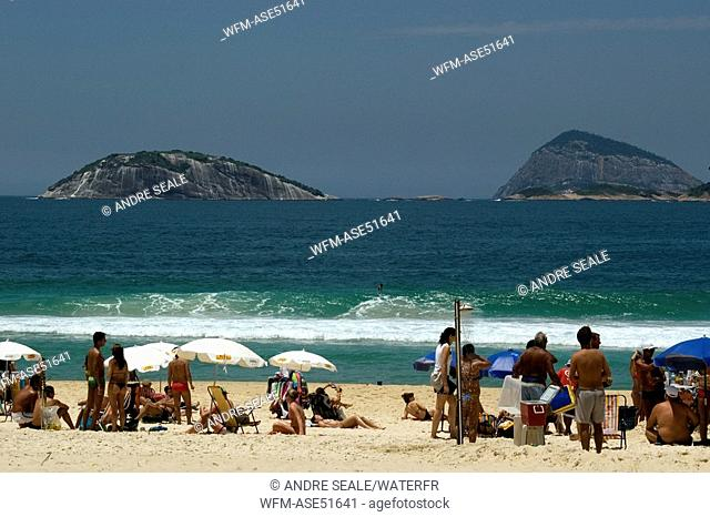 Ipanema Beach with Cagarras Islands on Background, Rio de Janeiro, Brazil
