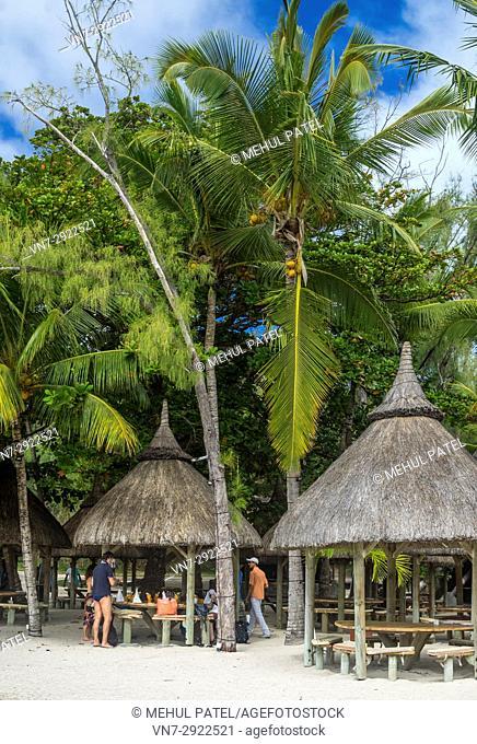Beach restaurant, Île aux Cerfs, Mauritius, Indian Ocean. Île aux Cerfs is a privately owned island near the east coast of Mauritius