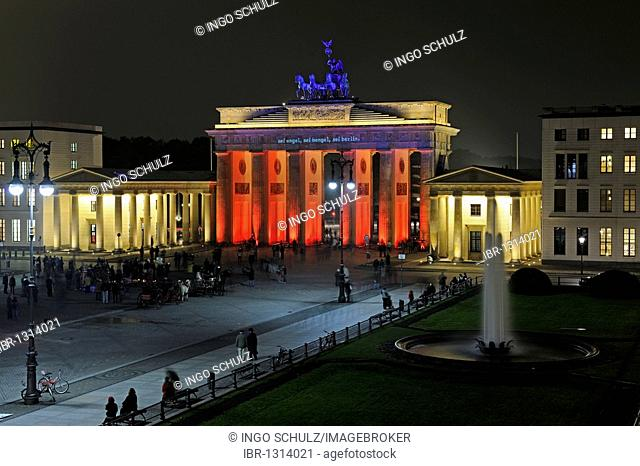 Brandenburg Gate at Pariser Platz square, illuminated at the Festival of Lights 2009, Berlin, Germany, Europe