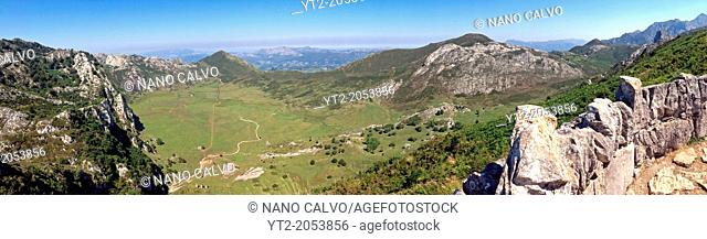 Panoramic view of Lakes of Covadonga, Asturias, Spain