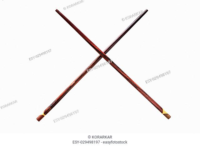 Wooden chopsticks, isolated on white background