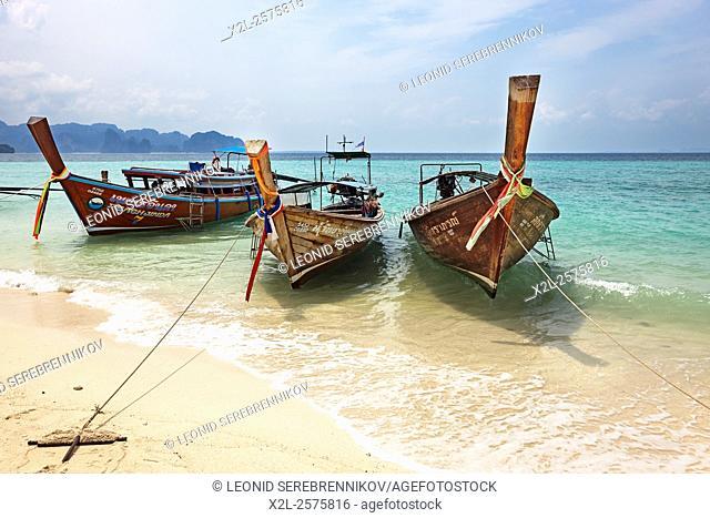 Longtail boats at the beach on Poda Island (Koh Poda). Krabi Province, Thailand