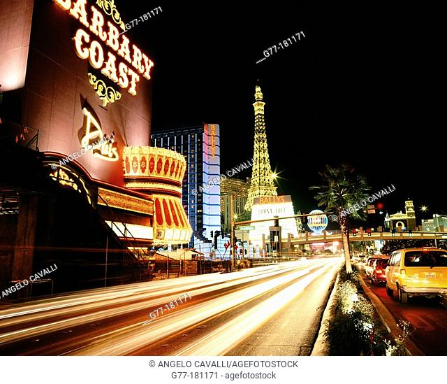 Las Vegas boulevard lights. Eiffel Tower replica at Paris Casino