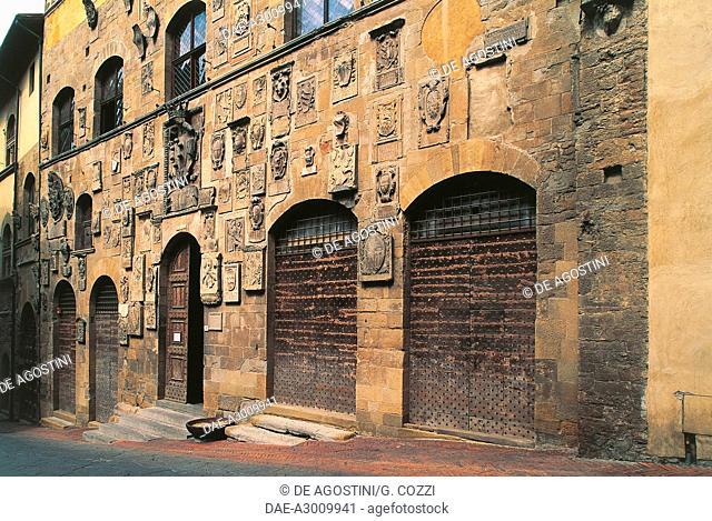 Coat of arms of Podestas and Captains, facade of Palazzo Pretorio, Arezzo, Tuscany, Italy, 14th-15th century