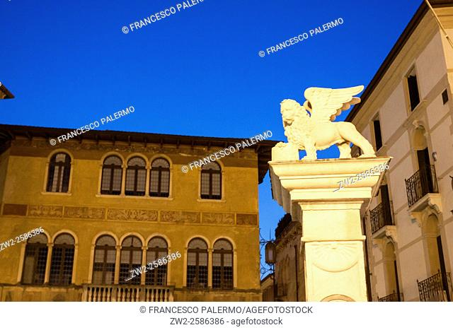 Winged lion symbol of the Venetian Republic. Bassano DG, Veneto. Italy