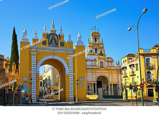 Seville Puerta de la Macarena and Basilica church in Sevilla Andalusia Spain